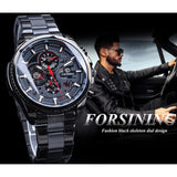 Forsining Three Dial Calendar Display Black Stainless Steel Men Automatic Wrist Watch Top Brand Luxury Military Sport Male Clock
