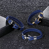 Men Leather (Multilayer) Bracelet  Fashion Braided, Handmade, Star Rope Wrap, Anchor Bracelets & Bangles (Supper Hot Seller!!)
