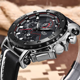 LIGE - Mens Watche  Luxury Big Dial Chronograph Quartz Watch, Leather Band, Waterproof Sport Chronograph Watch - Sale