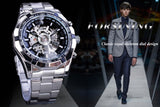 Forsining Mechanical Hand Wind Silver, Stainless Steel. Waterproof. Skeleton Watch, Transparent Mechanical Wrist Watch
