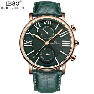 IBSO Multifunction Woman Watch, Quartz Genuine Leather Strap, Calendar, Week Display, Water Resistant,Shock Resistant