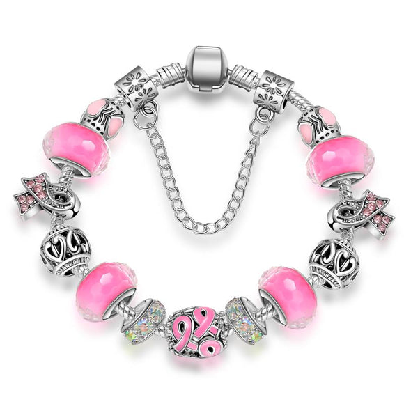 KEORMA - Charm Silver bracelets - Murano Glass Bead. Crystal Breast Cancer Awareness Pink Ribbon.