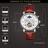 KINYUED - Moon Phase Tourbillon Mens Mechanical Watch, Automatic, Skeleton, Calendar