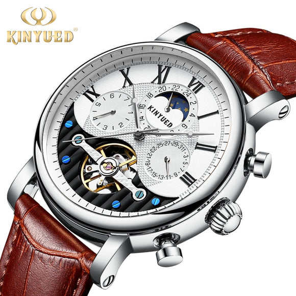 Kinyued Moon Phase Mechanical Watches Men Silver New Top Luxury Leather Band Automatic Hand Watch Tourbillon Male Wristwatch