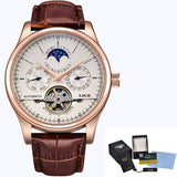 LIGE Moon Phase, Automatic Self-Wind Mechanical Watch, Tourbillon, Leather Band, Auto Date, Complete Calendar, Water Resistant
