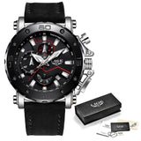 LIGE Men Watch, Leather Band, Large Dial,  Chronograph, Auto Date, Stop Watch, Complete Calendar, Shock Resistant, Swim, Water Resistant, Luminous Hands
