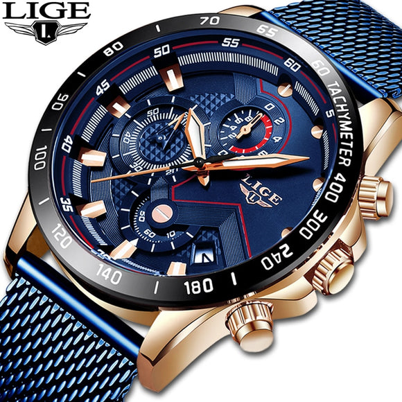 LIGE Chronograph WristWatch - Auto Date, Shock Resistant, Luminous Hands, Water Resistant, Stop Watch, Swim