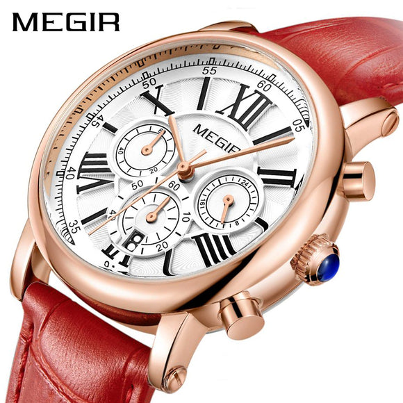 MEGIR - Luxury Ladies Chronograph and Calendar Quartz Watch, Top Brand  Clock for Lovers Relogio Feminino Sport Wristwatches.