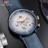 MINI FOCUS - Classic Men Chronograph Calendar Wristwatch, Leather Band, Quartz,  For Gentlemen