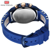 MINI FOCUS Mens Watch Analog Quartz, Date, Chronograph, Silicone Band, Sport Wristwatch For Men