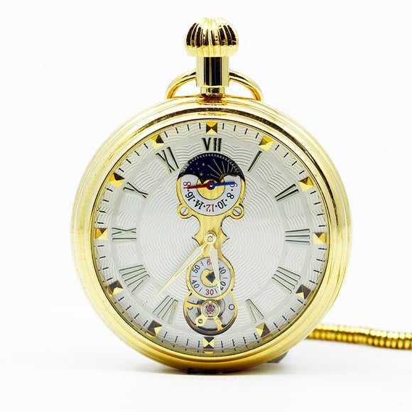 Mechanical Moon Phase Hand Wind Gold Pocket Watch Steampunk Open Face Roman Numbers Steel Fob Watches PJX1251