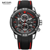 Megir Analogue Chronograph Battery Quartz Watch for Man Men's Black Silicone Bracelete Sport Wristwatch Boy's Stopwatch 2045G