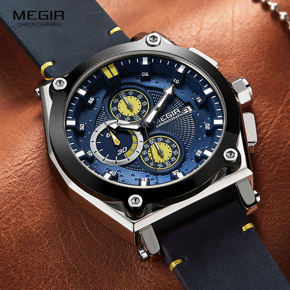 Megir Men's Leather Strap Quartz Watches Army Sports Chronograph Waterproof Wristwatch for Man Luminous