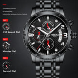 NIBOSI - Mens Watches, Top Brand Luxury Chronograph, Sport Watch for Men, Waterproof Military Clock