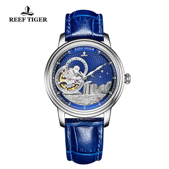Reef Tiger/RT Luxury Watch Tourbillon, Automatic Self-Wind, Blue Mechanical Watch, Sapphire Crystal, Leather Deployment Bucket