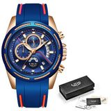 LIGE - Mens Watch, Silicone Strap. Waterproof Sport Chronograph, Gold, Quartz, Wristwatch + Box - ON SALE