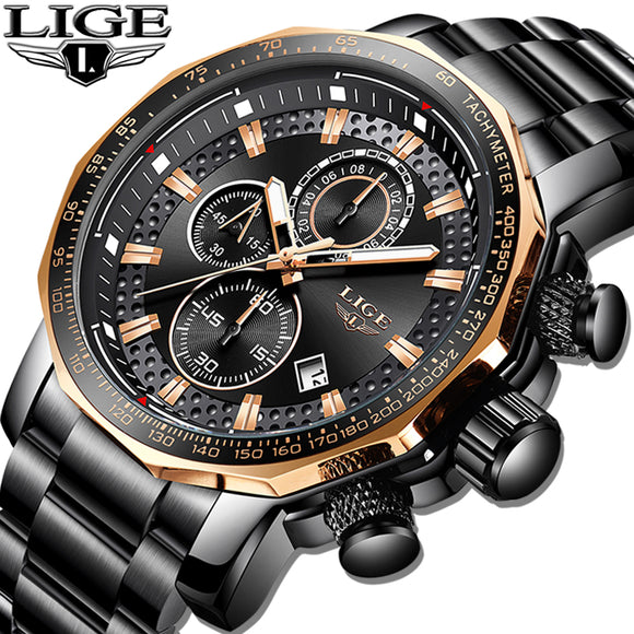 LIGE - New Sport Chronograph Mens Watch, Full Steel, Quartz, Waterproof, Big Dial Watch