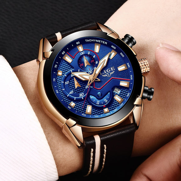 LIGE - Men's Chronograph Analog Quartz Watch with Date, Luminous Hands, Waterproof Leather Strap