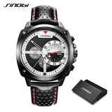 SINOBI - Mens Chronograph Watch, with Genuine Leather Band, Waterproof Sports Wrist Watch, Quartz, Military