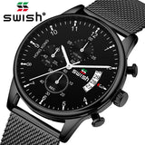 SWISH -Top Brand Luxury Mens Watches Waterproof Stainless Steel Wrist Watch Male Chronograph Casual Quartz Clock