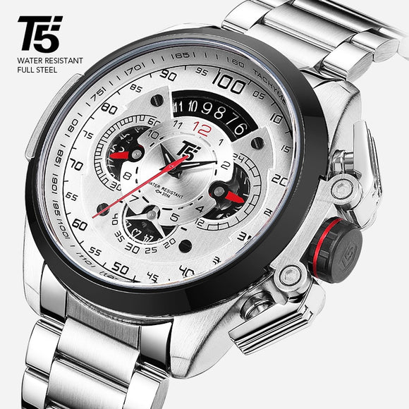 T5 Brand - Black, Gold Male Watch, Military Quartz Sport Wrist Watch, Chronograph, Waterproof Sport Wristwatch