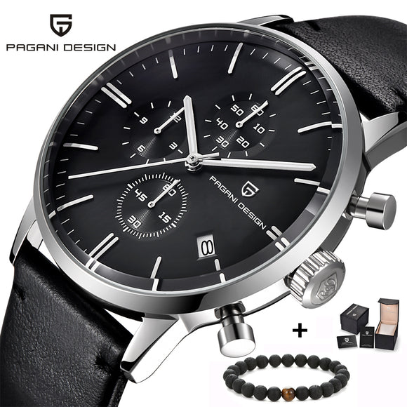 PAGANI Designer Chronograph, Leather Strap, Quartz Wristwatch