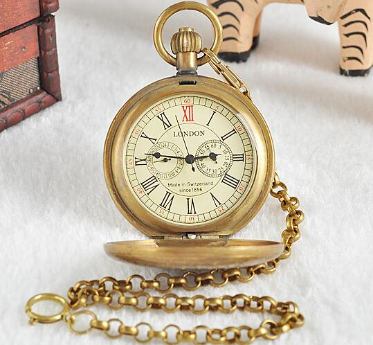Unisex Golden Vintage Retro Watch Men Alloy Mechanical Pocket Watch With Metal Chain Steampunk Watch Roman PJX1040