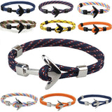 New Aiive - Silver/Black Alloy Anchor Bracelet Multilayer Rope Chain Paracord Bracelet For Women Men Navy Style Gift