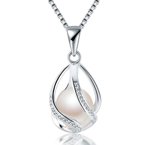 Cauuev genuine 100% Natural freshwater  Pearl Jewelry - 925 Sterling Silver Pendant Necklace.  Superb Gift For Women!!!