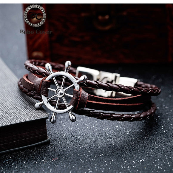 Bobo Cover Black Leather charm Bracelets Men couple hope Rudder bracelets bangles for Men women femme homme Fashion jewelry Gift