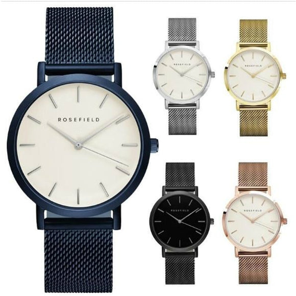 ROSEFIELD - Mesh Stainless Steel Watches Women Top quartz watch Brand Luxury Casual Clock Ladies Wrist Watch Relogio Feminino Gift
