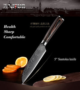 XITUO - High quality Chef Knives - Santoku kitchen Knives, Sharp, Cleaver Slicing Knives, Gift Knife Set (Imitation Damascus steel)