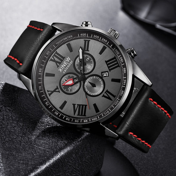 XINEW Men Watch Leather Band Sports Date Analog Alloy Military Quartz watch man watches mens 2019 relogios masculino