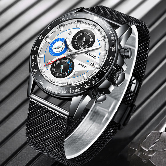 LIGE Top Brand Luxury Mens Watches Waterproof, Ultra Thin, Date, Wrist Watch, Male Chronograph Casual Quartz Clock