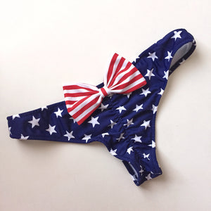 Cheeky Scrunch American Flag Stars and Stripes Bow Bikini Bottom - Made in America - Fahrenheit Swimwear