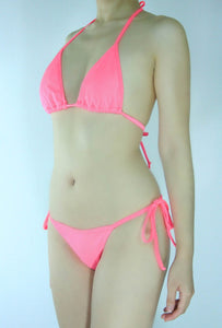 Coral Tie Strings Bikini Set - Fahrenheit Swimwear