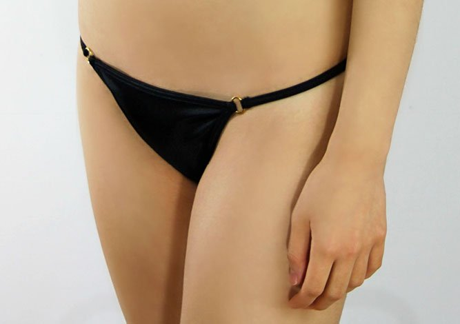 Black Double Gold Rings Bikini Bottom - Black Lingerie Cheeky Bottom  - Fahrenheit Swimwear