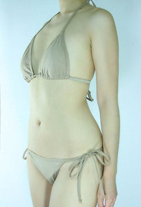 Beige Tie Sides Cheeky Bikini Bottom with Triangle Top - Fahrenheit Swimwear