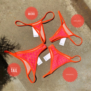 Orange Net with Hot Pink Lining Bikini String Bottom - String Brazilian Skimpy Small Fahrenheit Swimwear Bikini