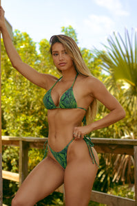 Emerald Snakeskin Triangle Top - Fahrenheit Swimwear