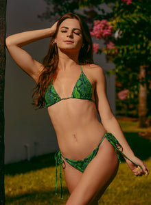 Emerald Python Regular Tie Sides Bikini Bottom - Fahrenheit Swimwear