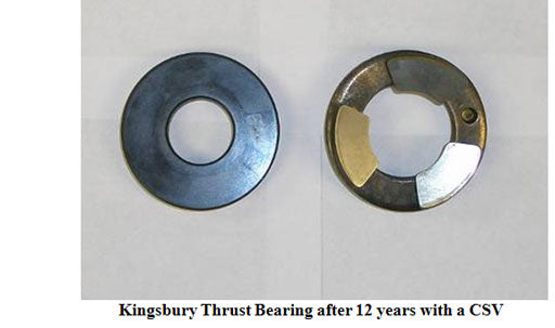 Kingsbury thrust bearings after 12 years with a csv