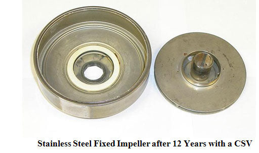 Stainless steel fixed impeller after 12 years with a CSV