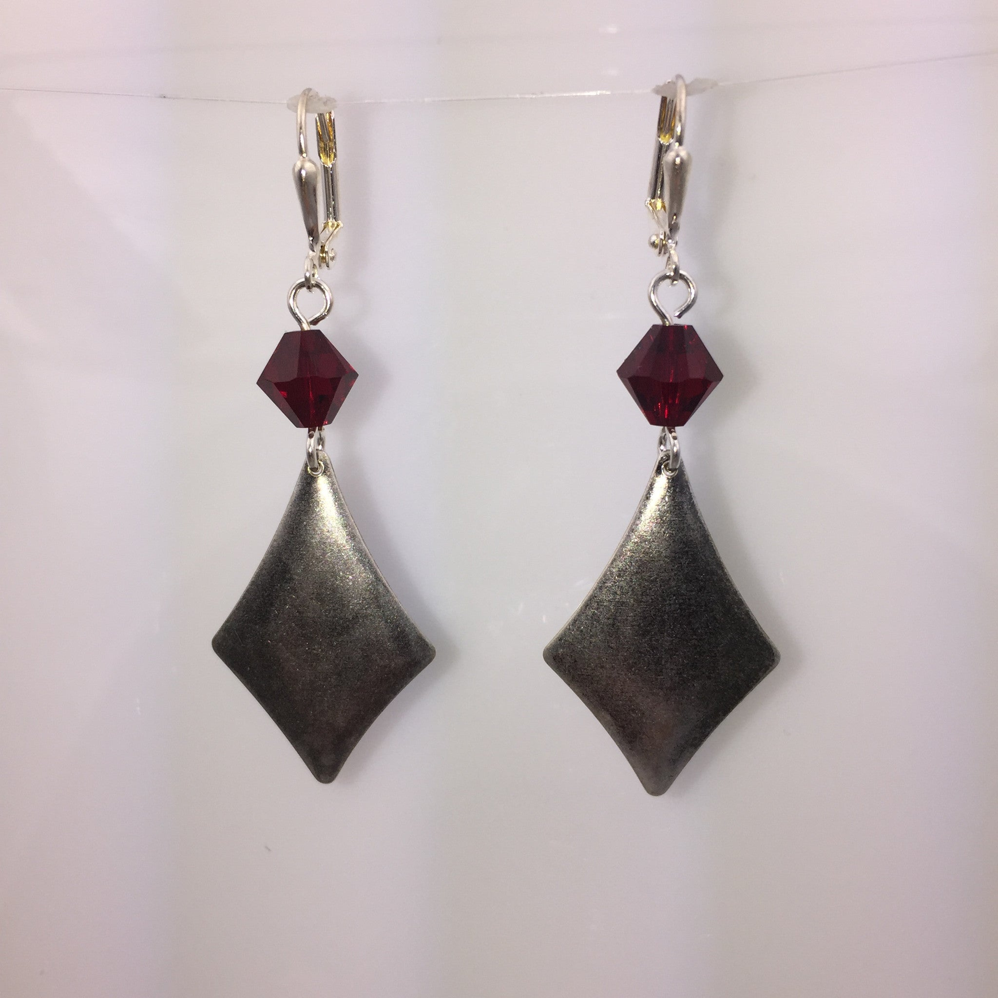 Silver Antiqued Diamond Earrings