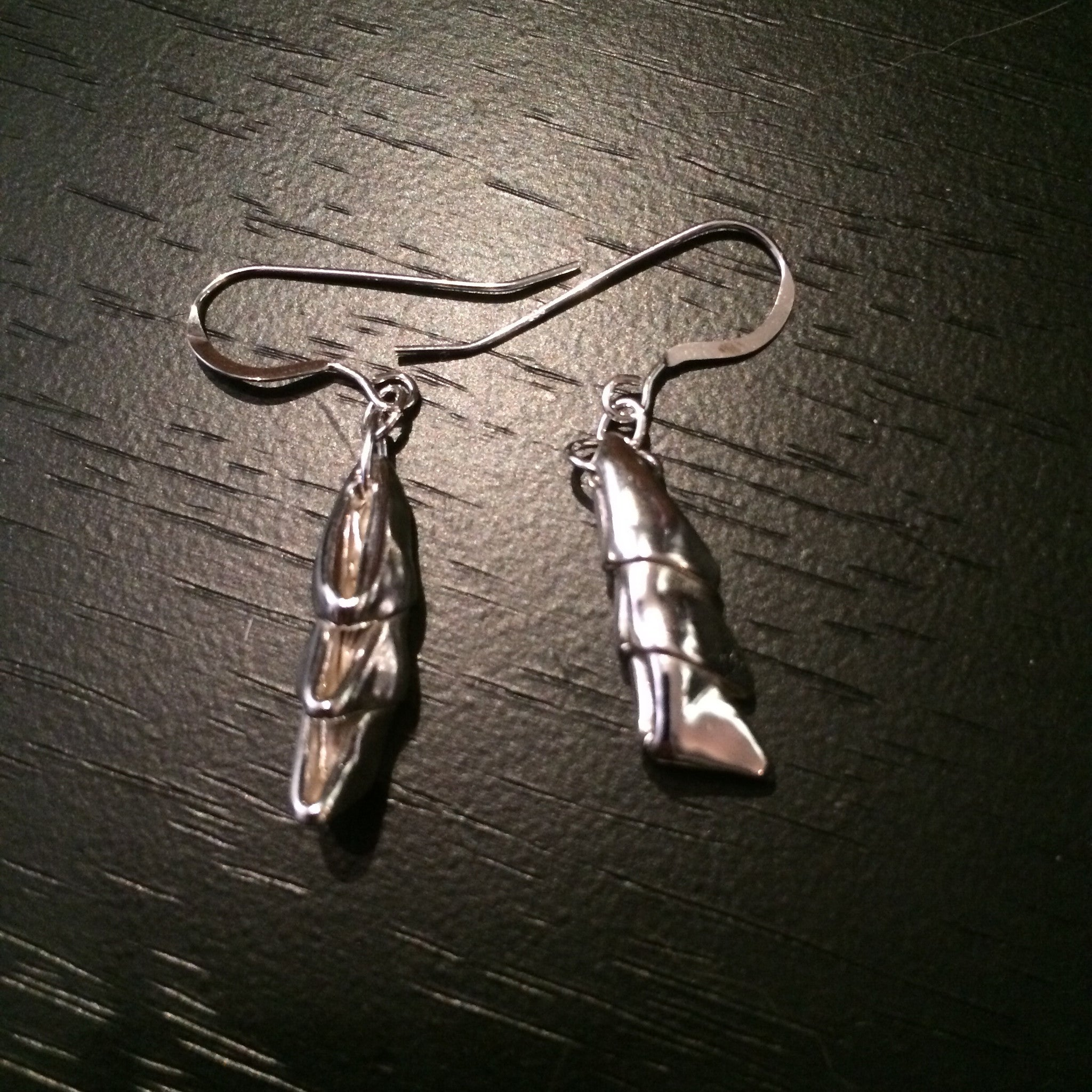 Fine Silver Stacked Triangles Origami Earrings
