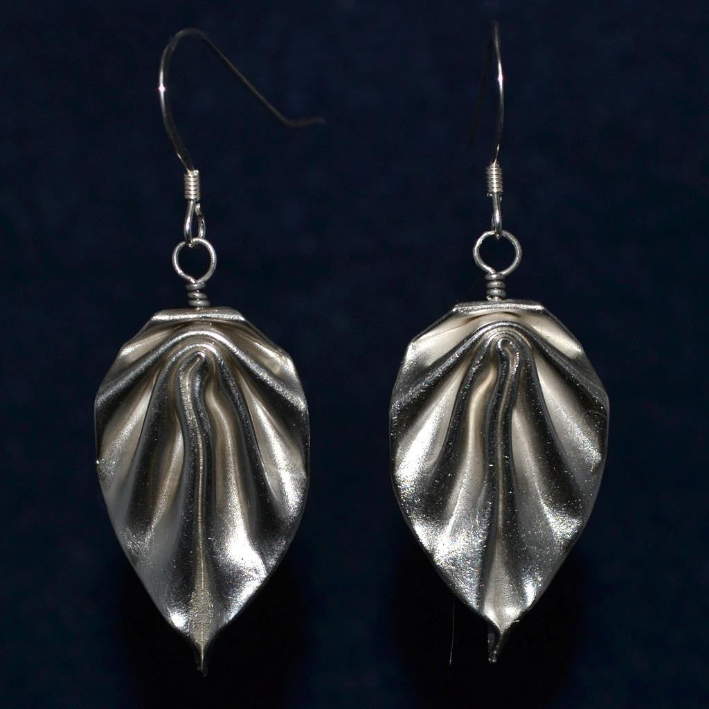 Fine Silver Leaves Origami Earrings