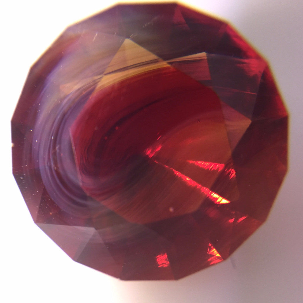 Marble Ring, Red with Amber Swirl
