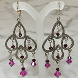 Pewter Peacock Chandelier Earrings
