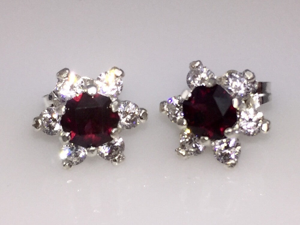 Gemstone Flower Stud Earrings
