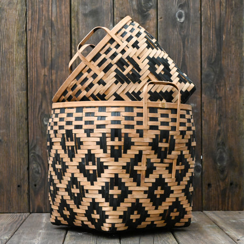 Split Bamboo Basket in Natural/Black